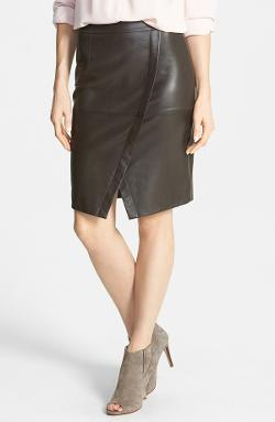 Halogen - Seamed Leather Pencil Skirt