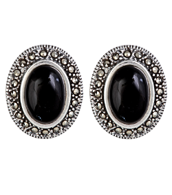 Marcasite  - Oval Earrings with Black Onyx