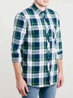 Topman - Green long sleeve tartan shirt