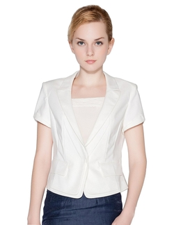 Fiocco - Turn Down Collar Short Sleeve Blazer