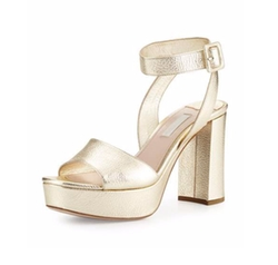 Miu Miu - Metallic Platform Ankle-Wrap Sandals
