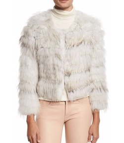 Alice + Olivia - Fawn Rabbit & Fox Fur Bomber Jacket