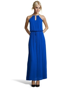 Wyatt - Stretch Fabric Front Key-Hole Halter Maxi Dress