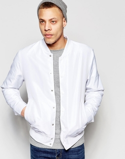 Asos  - Bomber Jacket With Poppers In White