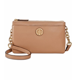 Tommy Hilfiger - Double Zipper Pebble Leather Crossbody Bag