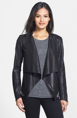 LaMarque  - Draped Front Goatskin Leather Jacket