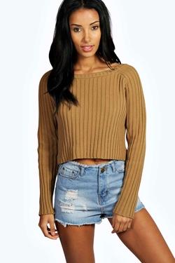 Boohoo  - Rosina Crop Rib Knit Jumper Sweater