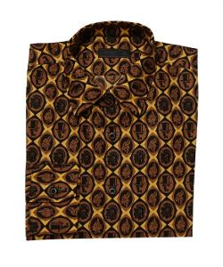 Prada - Brown And Black Head Plaque Printed Cotton Point Collar Dress Shirt