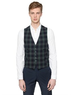 Manuel Ritz  - Watch Plaid Cotton & Wool Vest