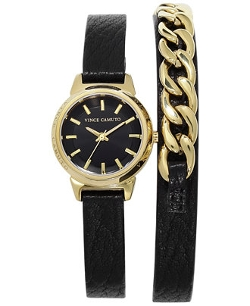 Vince Camuto - Leather Double Wrap Strap Watch