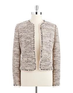 Anne Klein  - Petite Tweed Flyaway Blazer