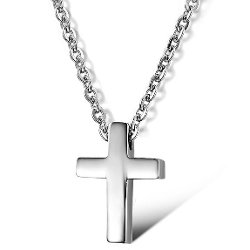 3Aries  - Stainless Steel Simple Glossy Cross Pendant Necklace
