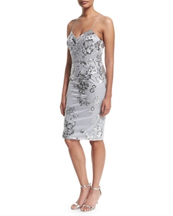 David Meister - Fitted Sequined Cocktail Dress