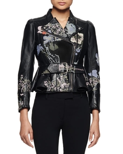 Alexander McQueen - Embroidered Leather Moto Jacket