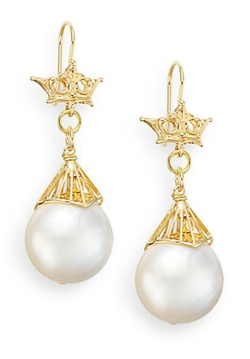 Aviva Carmy  - Baroque Freshwater Pearl Drop Crown Earrings