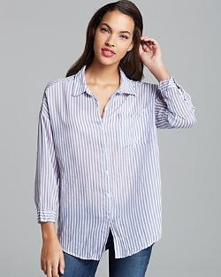 Olive and Oak Top  - Stripe Button Down