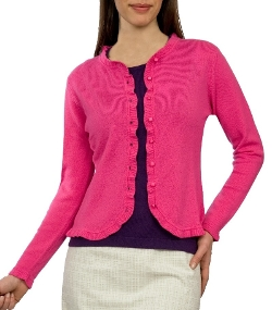 Woolovers - Pink Frilly Edged Cardigan