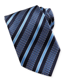 Ermenegildo Zegna	  - Woven Textured Zigzag Ground-Stripe Tie
