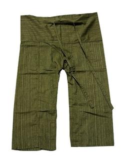 Thailand - Original Thai Fisherman Fisher Yoga Pants Trouser Stripe-Dark Olive Green