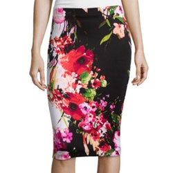 By&By  - Floral Print Pencil Skirt