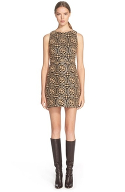 Alice + Olivia - Embroidered Sleeveless Sheath Dress