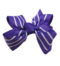 Cover Your Hair - Striped Bow Hair Clip