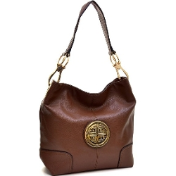 Dasein Tote Bags - Leather Emblem Tote Hobo Shoulder Bag