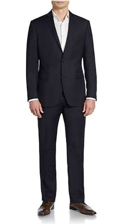 Saks Fifth Avenue Red  - Trim-Fit Bengaline Wool Suit