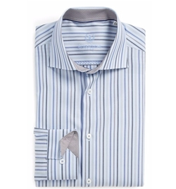 Bugatchi  - Trim Fit Stripe Dress Shirt