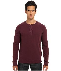 Vince - Henley w/ Woven Placket Top