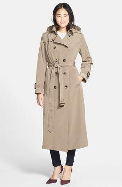 London Fog  - Long Trench Coat with Removable Hood