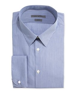 John Varvatos -  Slim-Fit Striped Poplin Dress Shirt
