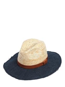 Etro   - Paisley Denim Jacquard Brim Straw Hat