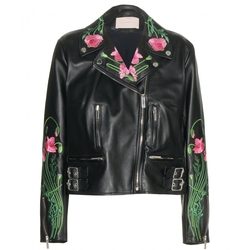Christopher Kane - Embroidered Leather Jacket