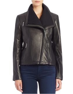 Michael Michael Kors - Asymmetrical Zip-Front Leather Jacket