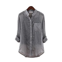 Sunny House - Mandarin-Collar Shirt Blouse