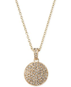 Judith Jack  - 14k Gold-Plated Marcasite Crystal Circle Pendant Necklace