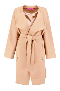 Boohoo - Melissa Waterfall Belted Coat