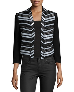 Haute Hippie - Embellished Cropped Blazer Topper