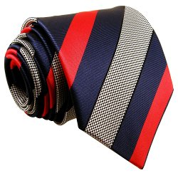 Shlax & Wing - Stripes Blue Navy Red Black White Mens Neckties