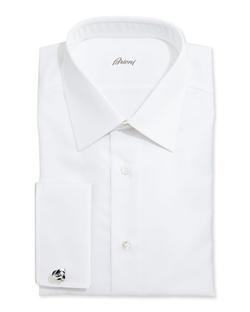 Brioni  - White-On-White Stripe Dress Shirt