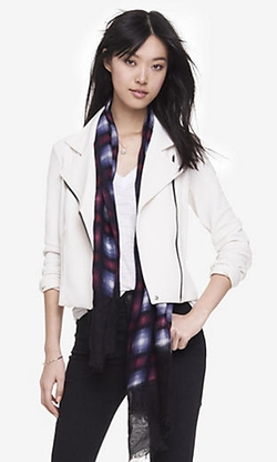 Express - Textured Knit Moto Jacket