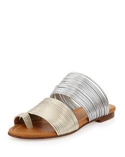 Visconti & Du Reau  - Cayman Two-Tone Metallic Corded Slide Sandal