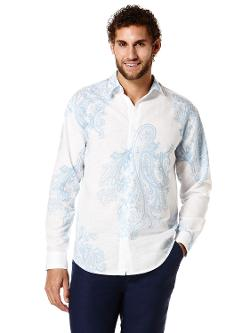 Cubavera - Linen Cotton Front Placement and All-Over Print Shirt