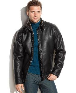 Calvin Klein  - Faux Leather Faux-Shearling-Lined Moto Jacket