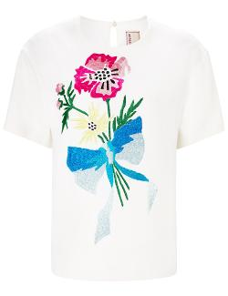 Antonio Marras - Ivory Embroidered Floral Top