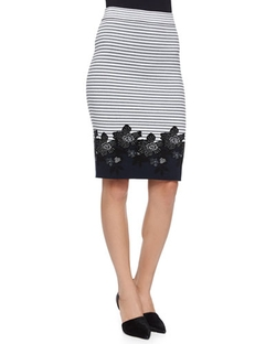 A.L.C.  - Brennan Striped Floral Pencil Skirt