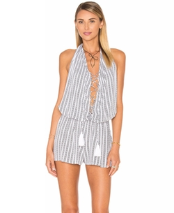 Indah - Swoon Printed Lace Up Romper