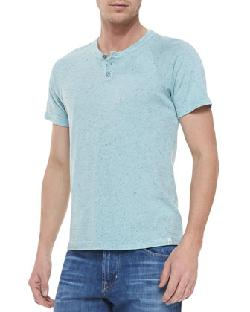 AG Adriano Goldschmied  - Raglan Short-Sleeve Henley, Seascape