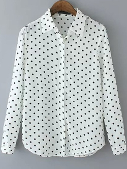 Romwe - Lapel Polka Dot White Blouse